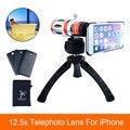 Alta qualidade 3in1 12.5x foco de telefoto telescópio lente zoom para iphone 6 6 s 7 plus 5 5S caso 5c 4 4S lentes da câmera do telefone tripé