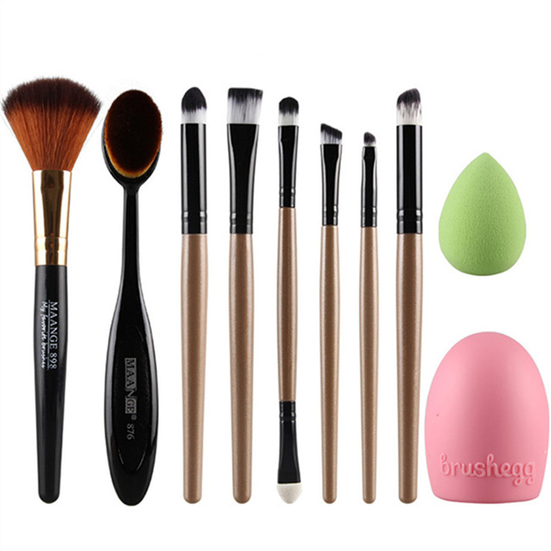 10Pcs Makeup Brushes Set Pro Powder Blush Foundation Eyeshadow Eyeliner Lip Cosmetic Brush Kit Beauty Tools Brush egg+Sponge new 32 pcs makeup brush set powder foundation eyeshadow eyeliner lip cosmetic brushes kit beauty tools fm88