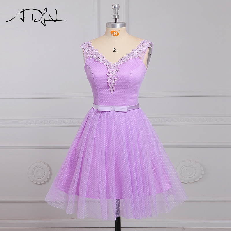 ADLN Short Lilac   Bridesmaid     Dresses   With Appliques V-neck Cap Sleeve Mini Party   Dresses   Curto