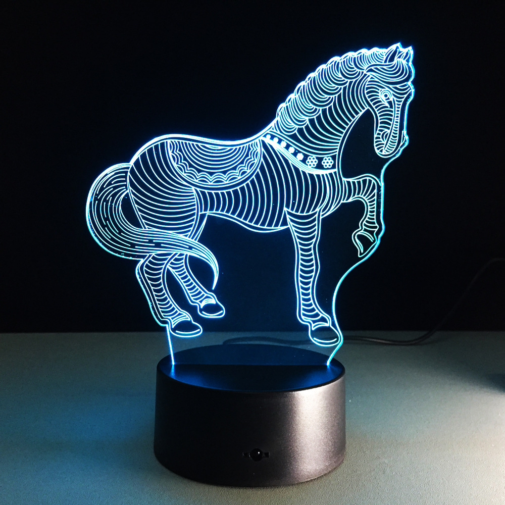 USB Novelty Gifts 7 Colors Changing Animal Horse LED Night Lights 3D LED Desk Table Lamp as Home Decoration Galloping Horse