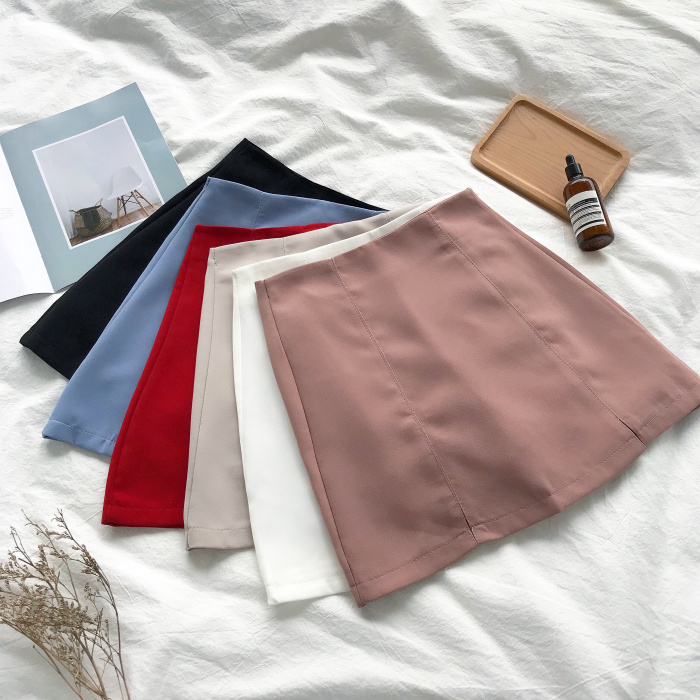 Women Solid Color Skirt Lady 2018 New Korean Chic Simple Split Package Hip High Waist Slim A-line Casual Skirt