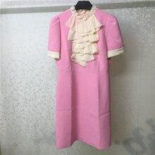 Pink Dress Women Elegant Ruffles Dresses 2019 Autumn Spring Short Sleeve Female Womens Clothing