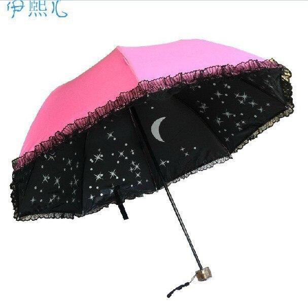 1e11f42eb770d Star and moon patern umbrella night sky cute umbrellas UPF 40 3 folded lace  lady umbrella
