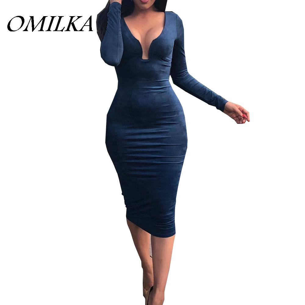 OMILKA 2017 Autumn Winter Women Long Sleeve V Neck Bandage Bodycon Dress Sexy Orange Blue Khaki Club Party Midi Dress