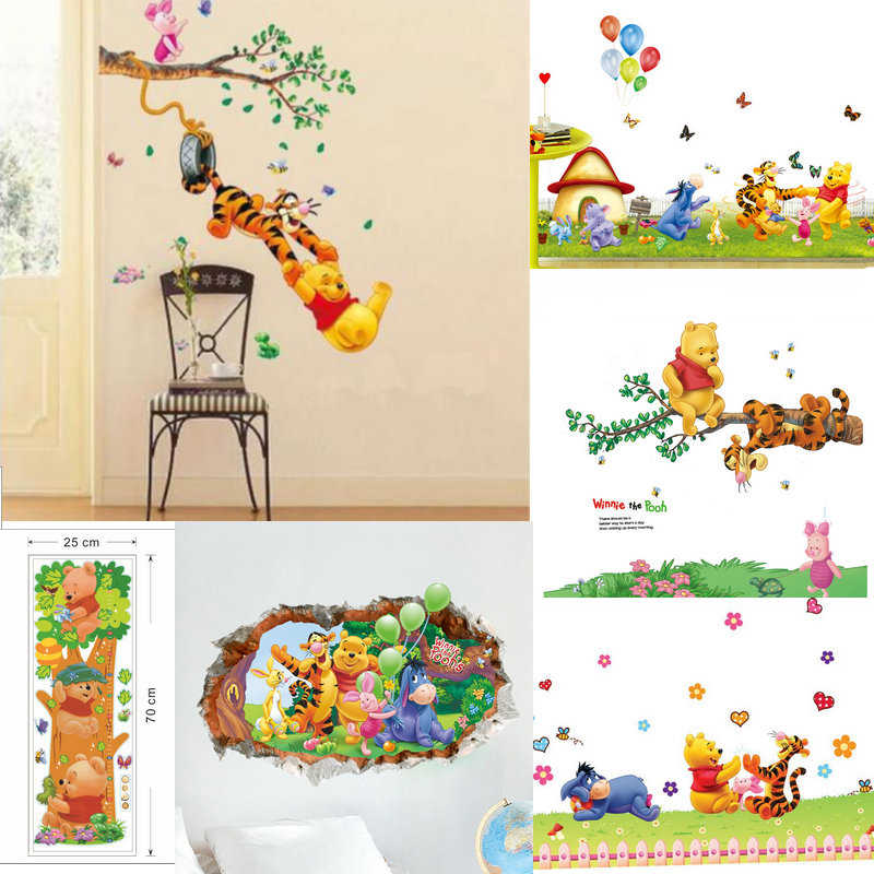 7e78414ff35f 3D Baby Bear cartoon Winnie Pooh Tigger Animal wall stickers for kids room  Kindergarten classroom decor
