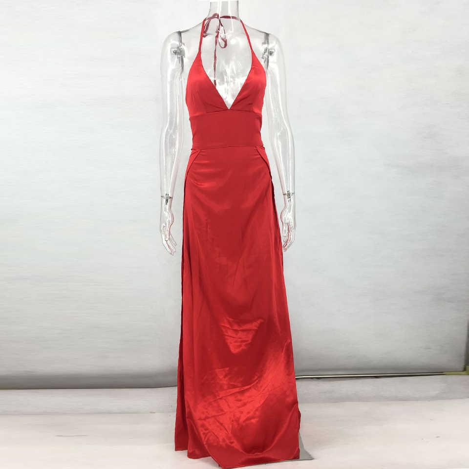 c9dfdc9ca6d28 JillPeri Deep V Neck Sexy Long Dress High Waist Backless Halter Solid  Luxury Party Dress Leg Open Ball Gown Elegant Maxi Dress