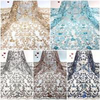 NEW High Quality 2019 Tulle French Nigerian Lace Fabrics Pearls Embroidered Guipure African 3d Lace Fabric ff5 23