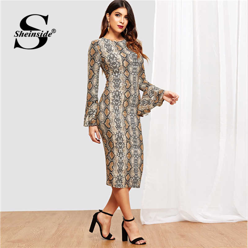Sheinside Snake Print Bell Sleeve Dress Women Elegant Ladies Long Sleeve Party Dresses Womens 2019 Casual Stretch Midi Dress