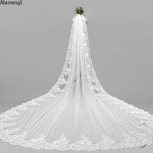 3 метра белые слоновая кость Длинные свадебные VeilsLace Край свадебная вуаль с расческой свадебные аксессуары невесты Мантилья свадебная вуаль