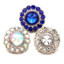 DIY 18mm AB color Snap Button with rhinestones Fit Snap Bracelet For Women Snaps Jewelry TZ1038(China)