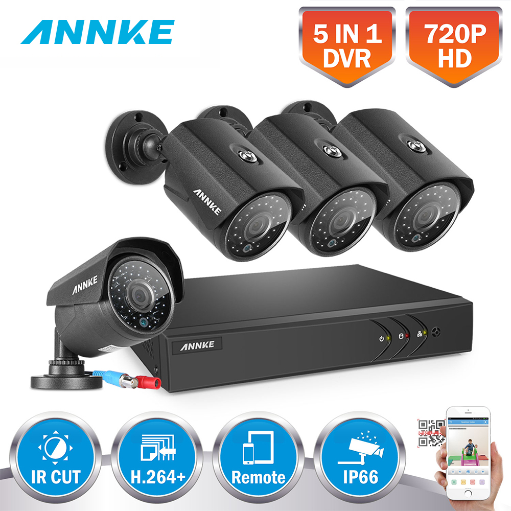 ANNKE 1080N 4CH 1080N Home Security HD DVR 4PCS 720P 1200TVL AHD Outdoor CCTV Camera System 8 Channel Surveillance Kit 1TB HDD стоимость