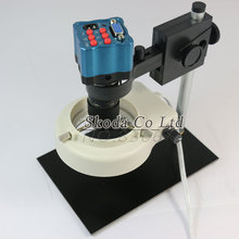 Cheaper VGA Industry Microscope+mini C-mount lens+Stand+LED light for PCB repair IR Remote Control 1/3 inch 8~130X zoom