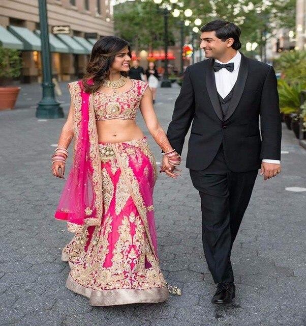 2016 nueva moda de dos piezas de la india vestido de novia de estilo