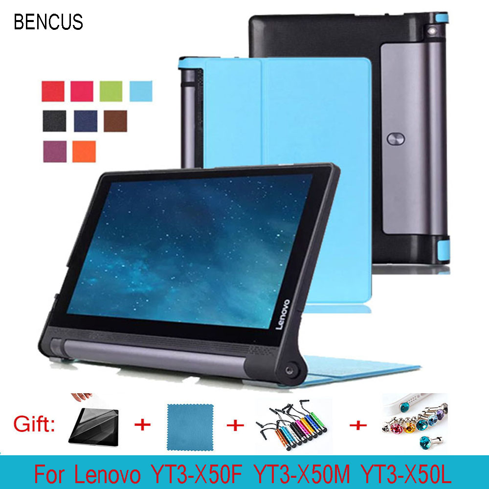 BENCUS Ultra Slim Karst Folio Leather Case Protective Skin Cover For Lenovo YOGA Tab3 10 YT3-X50M X50F X50L 10.1 inch Tablet PC
