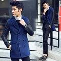 2016 homens casaco de Lã & Blends moda manga de couro Coats & Jackets outono ternos roupas dos homens de lapela Dupla breasted frete grátis
