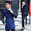 2016 men's Wool & Blends fashion leather sleeve Coats & Jackets autumn suits lapel Double breasted men's clothes Free shipping