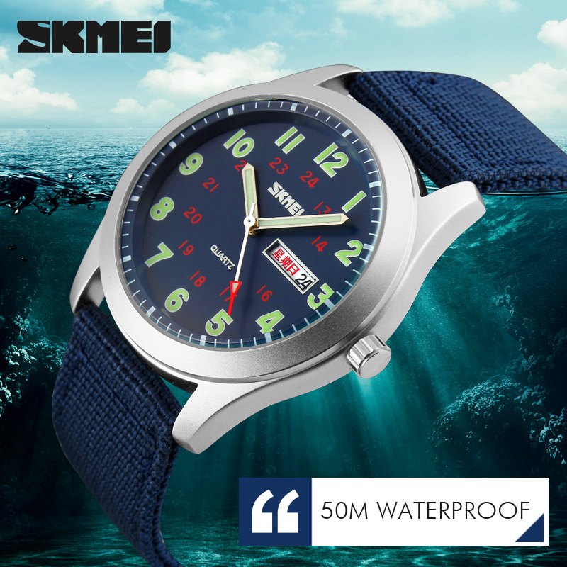 SKMEI Brand Men's Watches Waterproof Nylon Strap Analog Display Date Week Men Quartz Watch Casual Men Wristwatch цена и фото