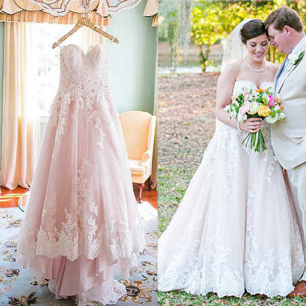 e97636e61b7 Detail Feedback Questions about A line Wedding Dresses 2019 Pastel Nude  Pink Sweetheart With Lace Appliques Sweep train Plus Size Bridal Gowns  Vestidos de ...