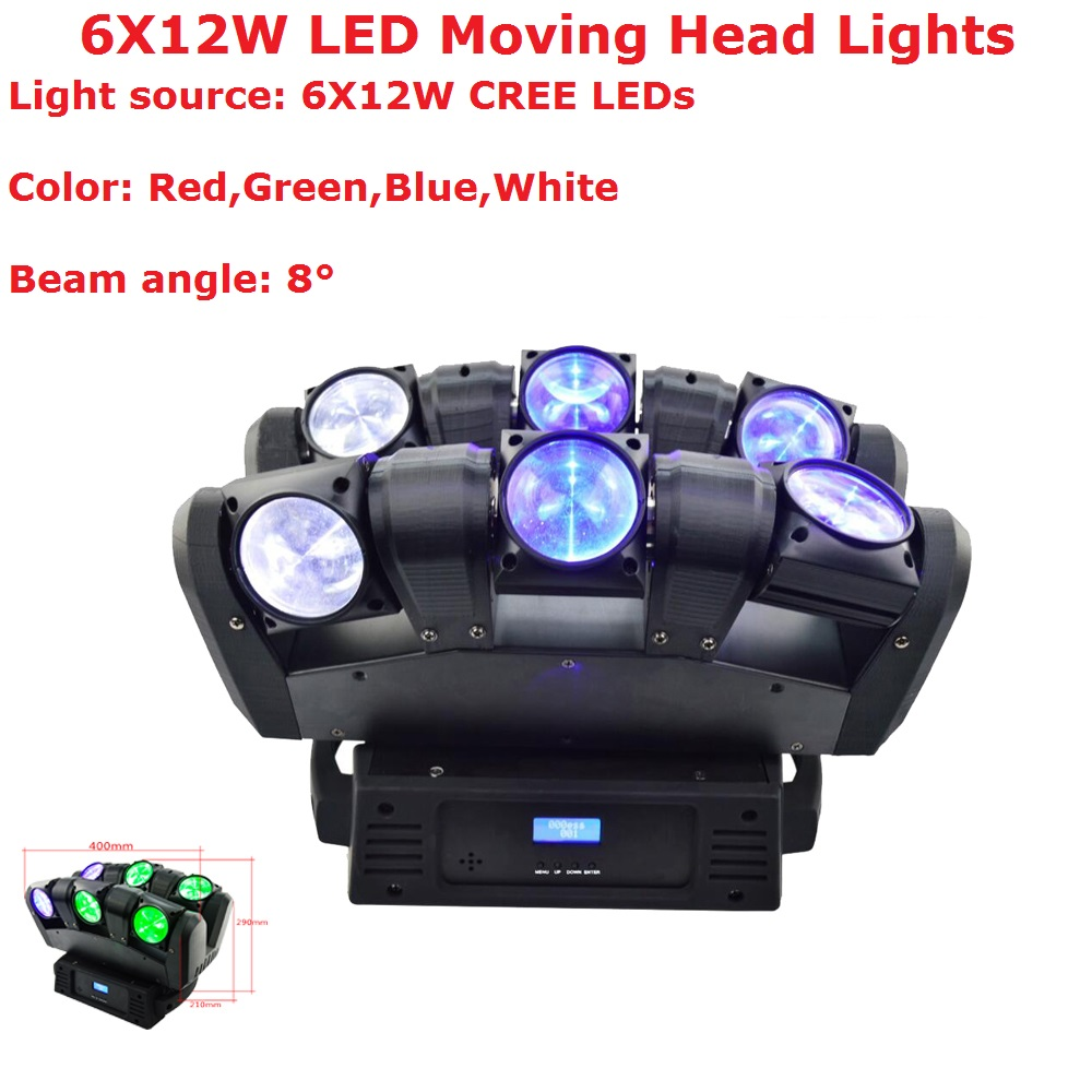 Fast Shipping 6X12W RGBW 4IN1 CREE LEDS LED Moving Head Light Hi-Quality 108W Beam Moving Head Stage Lights 90-240V For Dj Disco 4piece lot 3x3 led matrix moving head light matrix rgbw 4in1 9x10w led cree led stage lights