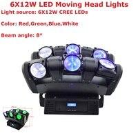 Transporte rápido 4IN1 6X12 w RGBW CREE LEDS Hi-Qualidade 108 w Feixe LEVOU Movendo A Cabeça Leve movendo a Cabeça Luzes Do Palco 90-240 v Para Dj Disco