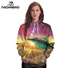 NADANBAO New Octopus Space Hoodies Sweatshirts Galaxy 3D Printed  Pattern Autumn Hooded Women Hoodie