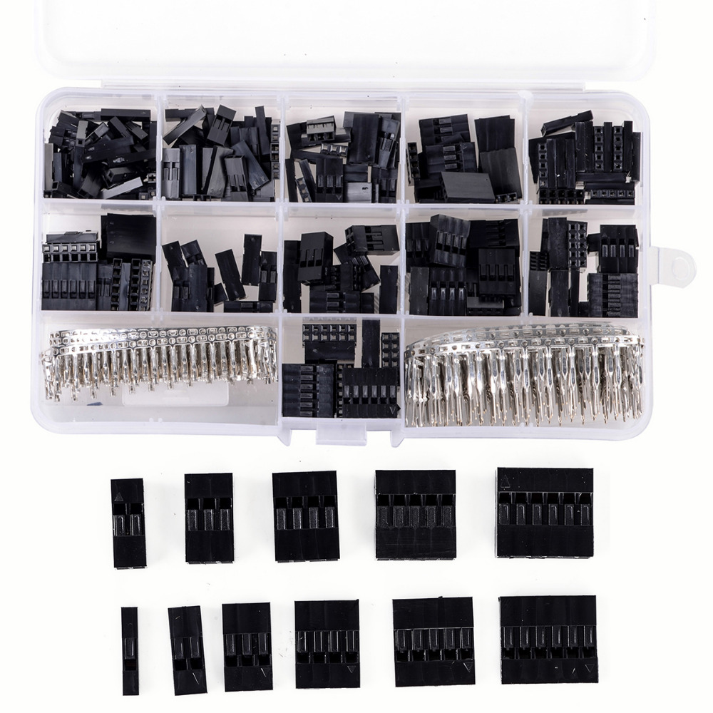 620pcs Dupont Wire Cable Jumper Pin Header Connector Housing Kit Male Crimp Pins+Female Pin Connector Terminal Pitch With Box 100pcs dupont head 2 54mm 4p 1x4p dupont plastic shell pin head connector jumper wire cable housing plug female