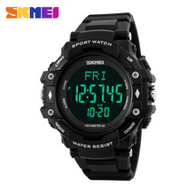 men sport watch SKMEI brand digital pedometer watches LED heart rate 50M waterproof watch fashion chronograph alarm wristwatches