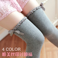 W161 high quality ribbon bow over the knee socks women beautiful stocking sexy cotton stocking