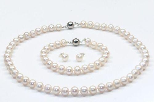 Livraison Gratuite>>>>> unique naturel Akoya blanc perle collier 18 pouces bracelet boucles d'oreilles
