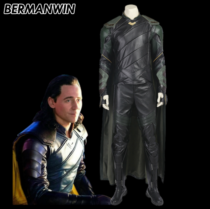 BERMANWIN High Quality Thor Ragnarok Loki Costume Thor 3 Loki Suit Loki Halloween Cosplay Costume for adult men
