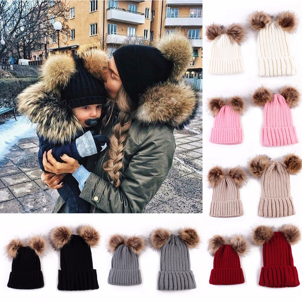 Puseky Mom And Baby Knitting Keep Warm Hat Family Match Hats Newborn Bebek Double Ball Faux Fur Pompom Ball Knitted Beanies Hat rabbit fur hat fashion thick knitted winter hats for women outdoor casual warm cap men wool skullies beanies