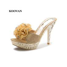 2015 summer new fashion princess flower sequined sandals fish head Women high heels shoes sexy Women sandals and slippers slope with super high heels sexy transparent diamond beaded sequined flowers fish head shoes lace summer sandals and slippers