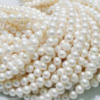 Wholesale 5PCS New 8 9mm Natural Freshwater White Pearl Round Loose Beads 14 ''>>> women jewerly Free shipping