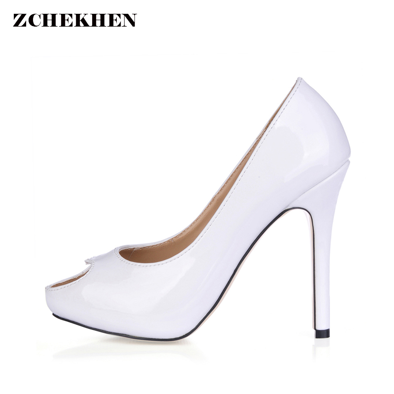 Women White patent leather Pumps Sexy Open Toe Thin High Heels Shallow Mouth Women Shoes wedding Dress Pumps Size 35-43 women silver high heels wedding shoes elegant rhinestone thin heel 10cm 8 5cm patent leather sexy pumps elegant sexy shoes