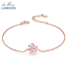 LAMOON Bear's Paw 100% Natural Heart Pink Rose Quartz 925 Sterling Silver fine Jewelry Chain Charm Bracelet for woman LMHI005