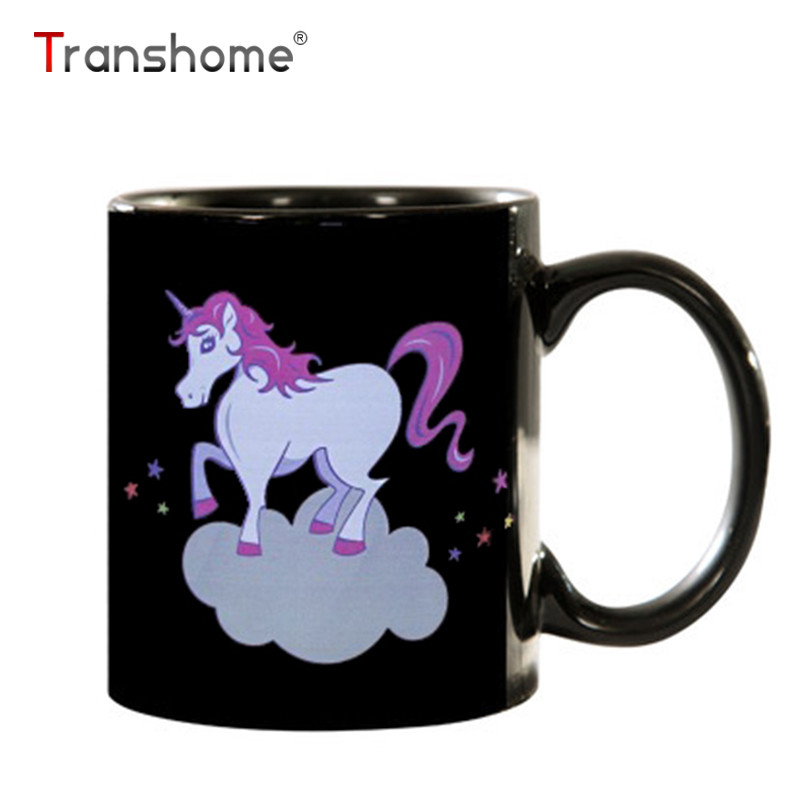 Transhome Color Changing Mug 300ml Rainbow Unicorn Mug Chameleon Cup Thermosensitive Magic Cup Ceramic Water Bottle Novelty Gift