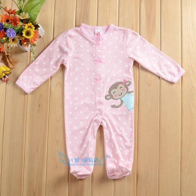 Rompers Clearance-newborn Baby Girls Romper Long Sleeve Monkey Jumpsuit Pink Playsuit Outfits Girl Rompers Round Neck Clothing