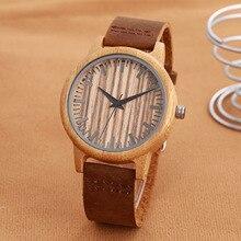 Natural Bamboo Wood Watch Unisex Men Women Quartz Wrist Watches Fashion Genuine Leather Wristwatch Relogio with Gift Box