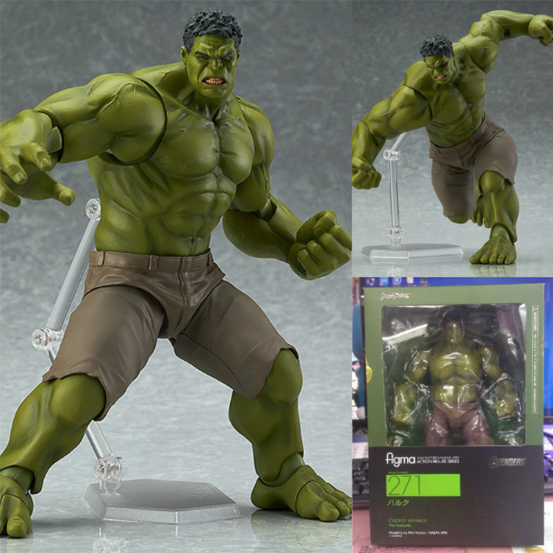 Figma Action Figure Toys 17cm PVC Super Hero Hulk Avengers Figma271# Green Giant Joint Moveable Boxed ModelFigma Action Figure Toys 17cm PVC Super Hero Hulk Avengers Figma271# Green Giant Joint Moveable Boxed Model