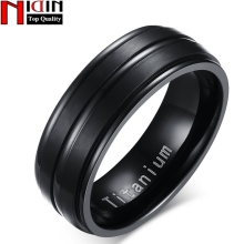 NIDIN 2017 8mm Black Men Ring 100% Titanium Carbide Men's Jewelry Wedding Bands Classic male rings Boyfriend Gift