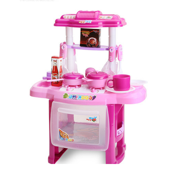 Lcll Kid Kitchen Cooking Pretend Role Toy Play Set Lights Sound Electronic 37 21 47cm