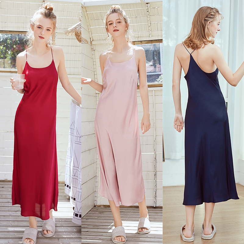 2019 Women Oversize Satin Long Nightdress Silk Sexy Lingerie   Nightgown   Sleepwear   Sleepshirts   Spaghetti Strap Femme Nightgows
