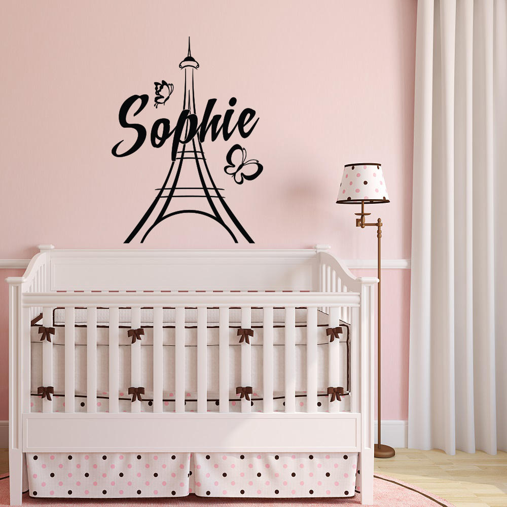 Us 5 77 30 Off Personalized Paris Wall Decals Vinyl Stickers Name Theme Bedroom Decor Eiffel Tower Decal Mural Nursery Kids G205 In