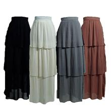 Jupe plissée pour femmes musulmanes Stretch, robe à plusieurs niveaux, crayon, taille haute, style arabe islamique, été décontracté