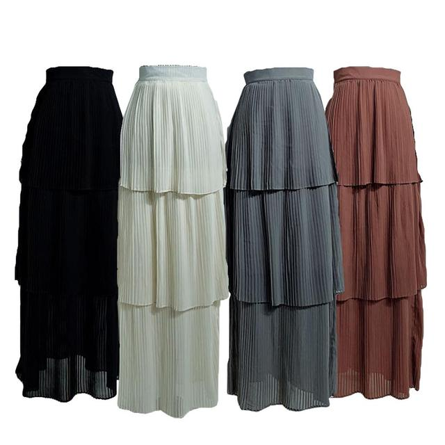 Muslim Women Tiered Pleated Skirt Bodycon Stretch Long High Waist Pencil Dress Islamic Arab Bottoms Summer Skirts Fashion Casual