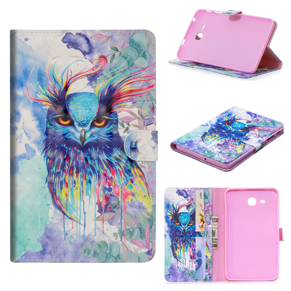 2016 Tab A6 7.0 Funda Shell Case For Samsung Galaxy Tab A 7.0 T280 T285 SM-T285 Flip Stand Cover Silicon PU Leather +Film +Pen