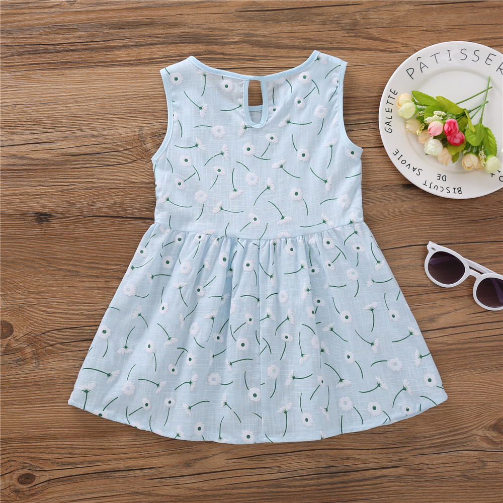 HTB1jMsdadfvK1RjSszhq6AcGFXaZ Kids Dresses for Girls Summer Girl Sleeveless Dress Toddler Flower Print Princess Dress 1 2 3 4 5 6 7 Years Children's Clothing