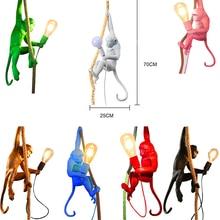 Modern 7 Colir Monkey lamp Simple Rope LED Pendant Lights Lighting Art Nordic Replicas Resin Seletti Hanging Lamp luminaire