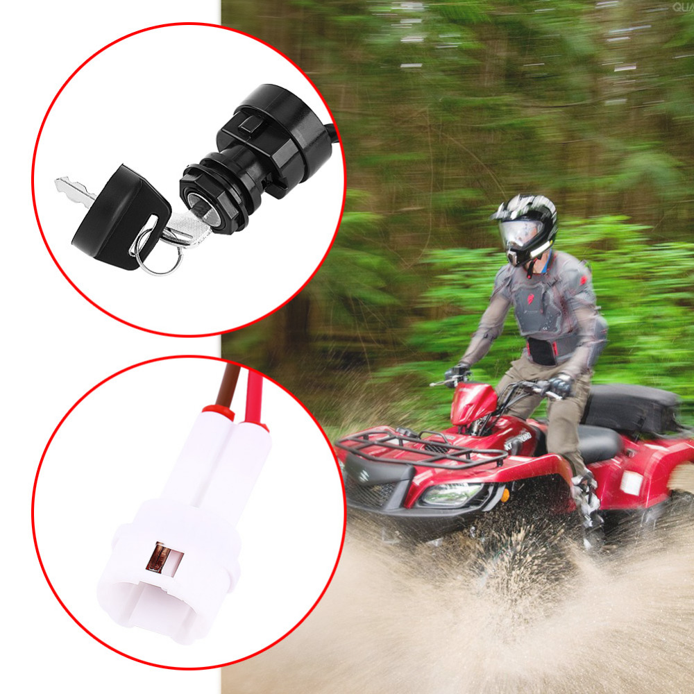2 Pin Motorcycle ATV Car Ignition Switch Assembly with Key for Yamaha YFM 350 Bruin 660R 700R Raptor 350X Warrior
