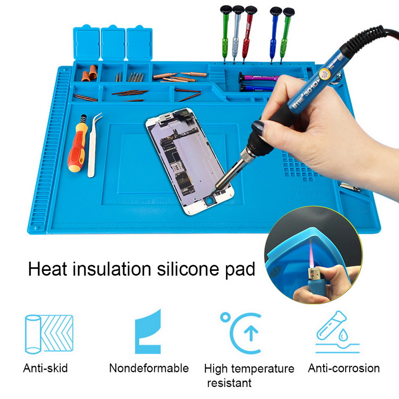 Heat Insulation Working Mat ESD Soldering Station Heat-resistant Phone Repair Maintenance Mat Electrician Insulator Pad Platform